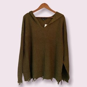 Derek Heart Plus Olive Green Deconstructed Cable Knit Hoodie